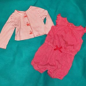 Coral & white striped romper with matching jacket
